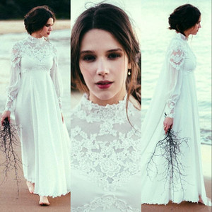 2021 Elegent High Neck Beach A Line Wedding Dresses With Long Sleeve Lace Empire Waist Country Bohemian Pregnant Bridal Wedding Gown Cheap