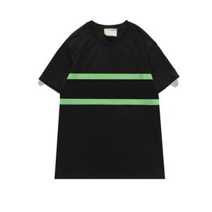 Hombre moda camiseta patrón de rayas impresión de impresión clásica costura rayado polos redondo cuello redondo camisetas para hombre y camiseta para mujer