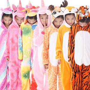 Pijama Unicorn Erkek Kız Onesie Çocuklar için Hayvan Geyik Çocuk Pijamas Kış Çocuk Pijama Panda Pajamas Y200704