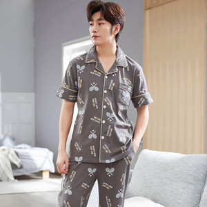 Short Sleeve Long Pants Print Pajama Sets for Men Summer 100% Cotton Sleepwear Suit Pyjama Male Homewear Loungewear Home Clothes Q1202