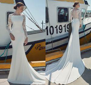 Lace Long Sleeves Mermaid Wedding Dresses 2021 Jewel Neck Court Train robes de mariée Illusion Buttons Back Boho Beach Bridal Gowns AL8448