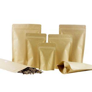 50 adet / grup Stand Up Kraft Kağıt Alüminyum Folyo Zip Kilit Yırtma Çentik Geri Dönüşümlü Paket Çanta Kendinden Sızdırmazlık Gıda Depolama Paketleme Çantası Q1230