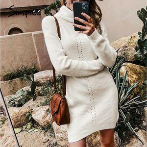 Simplee Casual Kadınlar Örme Elbise Sonbahar Kış Kaplumbağa Boyun Kadın Kazak Elbise Ofis Bayan Katı Kazak Jumper Mini Elbiseler