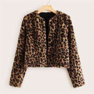 Женщины зима меховой теплый дизайнерская куртка мода уличный стиль с длинным рукавом экипаж шеи женское пальто повседневная леопард напечатан