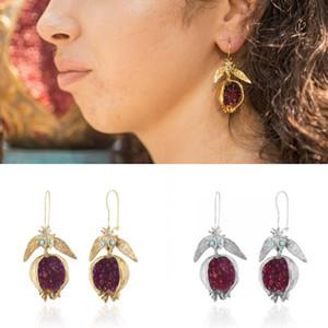 Nar Küpe Altın Kaplama Alaşım Charm Moda Takı Kristal Kişilik Kadın Kulak Kolye Noel Sıcak Satış 4SP K2