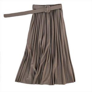Fashion Autumn Women elegant Retro pleated skirts female 2020 High waist skirt with Belt Chiffon Pleated midi long skirts womens