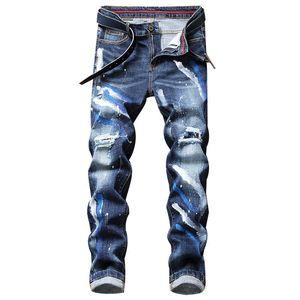 Nuevo Llegada para hombre Pantalones de mezclilla flaca para jóvenes Otoño Invierno Casual Slim Rapped Rapped Cowboys Pantalones Hip Hop impresos Jeans