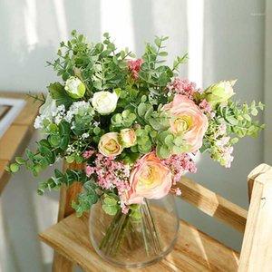 الحرير الحقيقي اللمس الزهور الاصطناعية الزفاف الزفاف عقد الزهور وهمية باقة للمنزل حديقة الديكور الأزهار عيد الحب