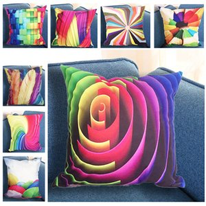 3D Pillow Case Silk Pillowcase Linen Car Sofa Square Cushion Cover Pattern Printed Decor Decorative Home Throw Pillowcase DHB2777