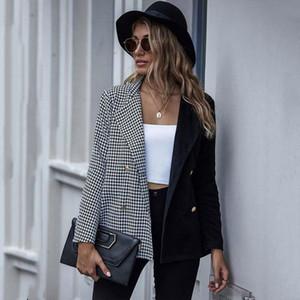 2021 Autumn Plaid Blazer Women Double Breasted Blazer Female Jacket Ladies Long Sleeve Fashion For Women Black