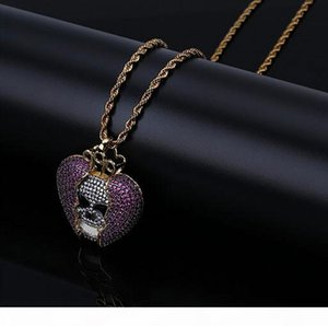 K 14k Iced Out Skull Skeleton Purple Heart Juice Wrld Pendant Bling Necklace Micro Pave Cubic Zircon Pendant Fashion Jewelry