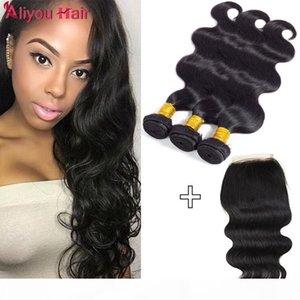 Brasiliano Virgin Hair Body Wave 3bundles con chiusura a pizzo bagnato e ondulato remy human wefts wefts con chiusura all'ingrosso di capelli weaves non trasformati
