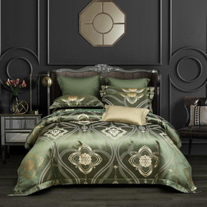 Luxury Satin Cotton Duvet Cover set Quilt Cover Bed Sheet and 2 Pillowcases Queen King size 4Pcs Bohemian Damask Bedding Set