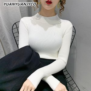Yuanyuanjyco Winter Women Longitud regular Longitud Casual Punto de punto My71 Rayado Terce Turtime Turtleneck Slim Blanco Suéter