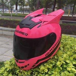 Casco de motocicleta Rosa para mujer Capacete Negro Ear Casco Personalidad Cara Completa Moto Moda Motorbike Casque Moto