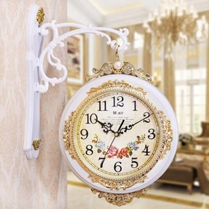 Vintage European Wall Clock Silent Creative Round Double Sided Glass Quartz Wall Clock Relogio Parede Living Room Decor MM60WC
