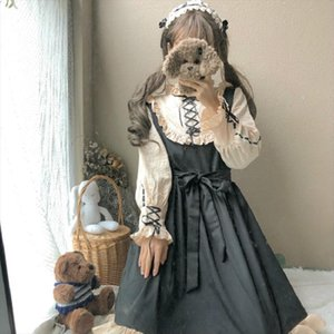 Japanese Harajuku Women Lolita Style Party Dress Gothic Bandage Bow Patchwork Cute Girl Cosplay Dress Kawaii Ruffles