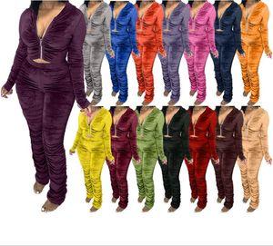 Women Velvet Outfit Women Hoodies Tracksuit Sportwear Set Sweater Top Running Sport Clothing Unit 2 Pieces Jogging Sets Femme Plus Size-2