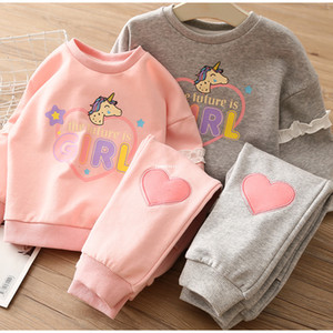 INS Kids Love hearts Outfit 2021 Children unicorn printed long sleeve sweatshirt+love heart pants 2pcs girls Valentine's Day sets A5599