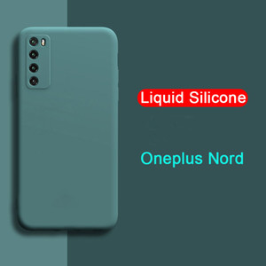 Para OnePlus Nord Case Líquido Silicone Soft Camera Lens Protection Phone Case para One Plus Nord 5G 1 + Nord 1 + 8T Cobertura traseira