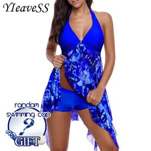 New Plus Size Tankini Set Women Swimwear Two Piece Print Halter Swimsuit Swimming Dress Bathing Suit