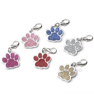 Cute Dog Paw Shaped Pet Tag Name Brand Key Ring Id Card Keychain Metal Puppy Cat Neck Pendant Key Holder Wholesale 6 Colors Bh2854 Dbc Klyn