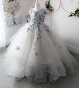 Lace Crystals Pearls 2020 Flower Girl Dresses Tulle Ball Gown Little Girl Wedding Dresses Cheap Communion Pageant Dresses Gowns