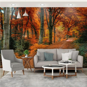Custom 3D Photo Wallpaper Nature Red Maple Forest Trail Late Autumn Leaves Background Wall Murals 3D Wall Papers Home Decor