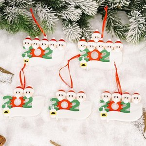 Christmas Quarantine xmas Decoration Birthdays Party Gift Product Personalized Family Of 7 Ornament Pendant With Face Masks DHD1916
