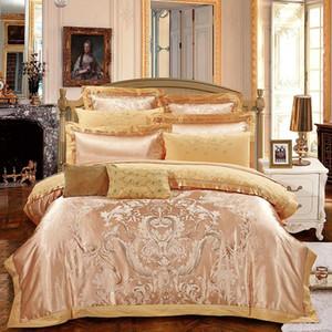 Gold Jacquard Silk / Algodão Bordado Satin Bedding Set Home Têxtil Edredão / Capa de Quilt Folha de Cama Fronhas Queen King Size