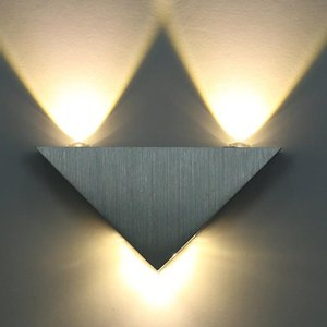 New 3w Aluminum Triangle Led Wall Lamp Ac85-265v High Power Modern Home Lighting Indoor And Outdoor Decoration multicolour Light