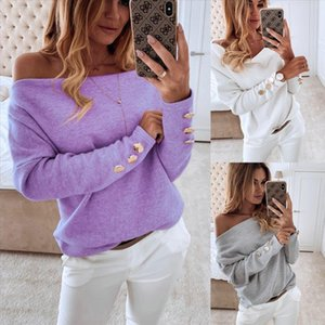 2020New Autumn Winter Women Off Shoulder Knitted Sweaters Sexy Long Sleeves Button Solid Casual Sweater Streetwear Pullover Tops