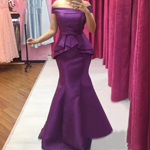 Elegant Satin Mermaid Mother of the Bride Dresses Off the Shoulder Bow Belt Wedding Party Evening Prom Gowns Formal Occasion