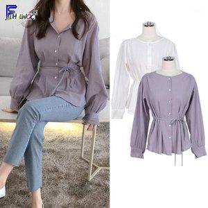 Blusas das mulheres Camiseta Bonitos Doces Tops Mulheres Coreano Japão Estilo Preppy Meninas Senhoras Design Cinto Laço Botão Roxo Botão Camisa Blusas F