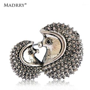 Madrry Creative Couple CP Hedgehog Brooches For Women Men Kids Antique Silver Color Hijab Pins Badges Bag Hat Accessories Funny1