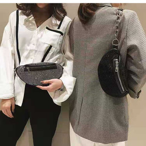 New Diamond Women Fashion PU Shoulder Messenger Clutch Bag Casual Chain High Quality Luxury Handbags Chest Waist Cag