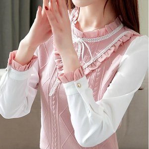Elegant For Women 2020 Chiffon Long Sleeves Slim Patchwork Shirt Blouse Feminine Bow Stand Tops Shirt New Autumn and Winter