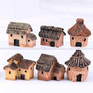 2 adet / grup Sevimli Reçine El Sanatları Ev Peri Bahçe Minyatürleri Oyuncaklar Mikro Peyzaj Dekor Bonsai Ev Décor 3 cm için