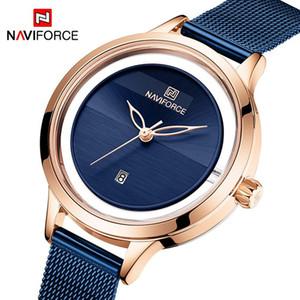 Naviforce mulheres assiste moda novo design senhoras quartzo relógio de pulso casual cinta de aço relógio impermeável