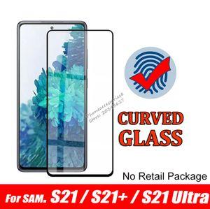 Déverrouillage d'empreintes digitales Déverrouillez le protecteur d'écran en verre trempé incurvé pour Samsung Galaxy S21 Note20 S20 Plus Ultra S10 Note10 Plus S8 S9 Note88