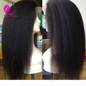Unprocessed virgin Lace front Wig With Natural Hairline Yaki Straight Brazilian Lace Front Wig For Black Women kinky straight lace wigS