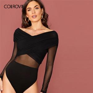 Colrovie Black Malla Superposición Cruz Wrap Wrap Sólido V Cuello Skinny Body 2020 Primavera High Stretch Sexy Sexy Bodsuits Q1119