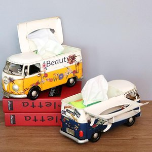 Bus Model Figurines Retro Car Tissue Box Home Decoration Crafts Vintage Ornaments Living Room Home Decor Tissue Box Case