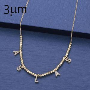 3UMeter 6 mm Pave-Brief-Halsketten personalisierte benutzerdefinierte Schmuck-Halsketten mit Namen für Etsy einzigartige Briefkugeln Halsketten Geschenke J190711