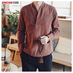 Sinicism Store Erkek Pamuk Keten Nakış Uzun Kollu T-shirt Erkekler Oversize 3 Renkler tişörtleri Erkek Sonbahar Casual Tshirt 201117