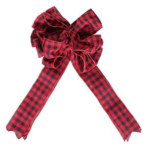 Árvore de Natal Topper Decoração vermelho e preto Buffalo Plaid Toppers Bow interior Hanging Outdoor ornamento JK2011XB