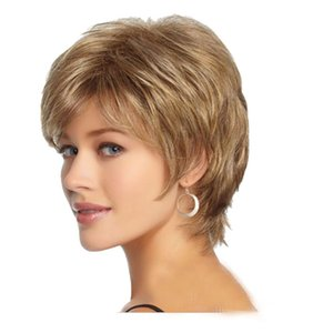 Short brown Synthetic Wigs Fluffy Little nature Wavy Wigs For Old Middle Age Women Office Lady