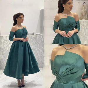 2021 Arabic A-Line Evening Dresses Off Shoulder Pleat Half Sleeves Formal Party Second Reception Gowns Plus Size Prom Dress