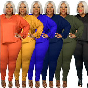 Women tracksuit hoodie pants 3XL 4XL 5XL solid color outfits fall winter casual clothing bigger size 2 piece set pullover capris 4239