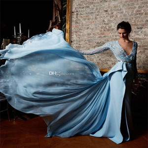 Zuhair Murad Light Sky Blue Evening Dress Pearls Design Lace Appliques Chiffon Overskirts Evening Dresses Long Sleeves Prom Party Gowns